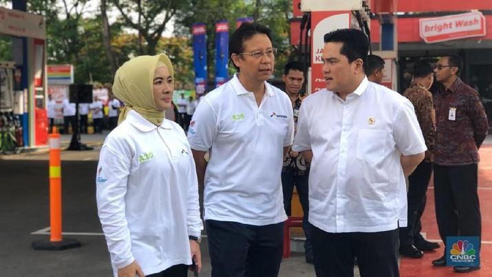 Menteri BUMN Erick Thohir di acara Peresmian Implementasi Program Biodiesel 30% oleh Presiden RI di SPBU MT Haryono. (CNBC Indonesia/Chandra Gian Asmara)