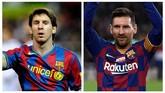 Foto kiri menunjukkan Lionel Messi saat melawan Sevilla pada Copa Del Rey, Januari 2010. Sementara foto kanan ketika Messi memamerkan gelar Ballon d'Or 2019 di Camp Nou bulan ini. (AFP PHOTO/CRISTINA QUICLER/Josep LAGO)