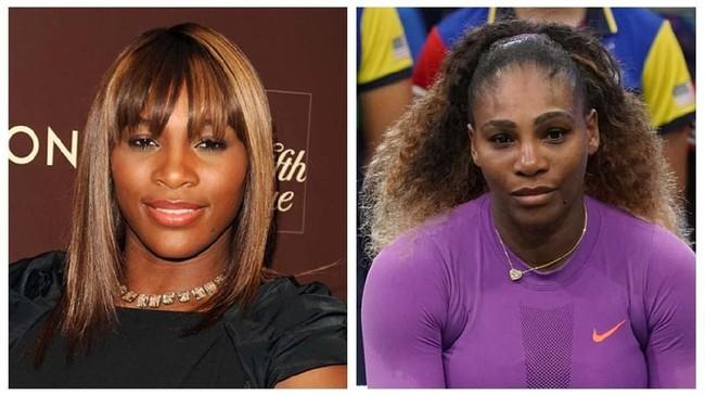 Serena Williams kiri ketika menghadiri sebuah pesta pada 2010, dan kanan usai kalah pada final US Open 2019. (Andrew H. Walker/Getty Images/AFP/TIMOTHY A. CLARY)