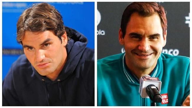Foto kiri ketika Roger Federer pada 2010 saat masih 28 tahun, sementara foto kanan adalah ketika petenis asal Swiss itu sudah 38 tahun. (AFP PHOTO/Paul CROCK/CLAUDIO CRUZ)