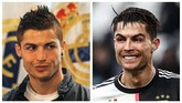 Foto kiri adalah ketika Cristiano Ronaldo memperpanjang kontrak dengan Real Madrid pada Februari 2010. Foto kanan adalah ketika Ronaldo memperkuat Juventus melawan Udinese, Desember 2019. (AFP PHOTO/PIERRE-PHILIPPE MARCOU/Isabella BONOTTO)