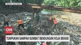 VIDEO: Tumpukan Sampah Sumbat Bendungan Koja Bekasi