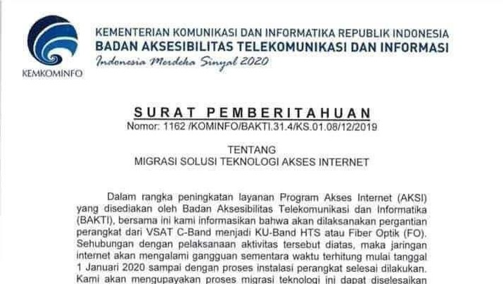 Layanan internet yang disediakan oleh BAKTI Kominfo, bakal terganggu besok karena ada migrasi teknologi