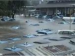 Ketika Pool Taksi Blue Bird Bagai Kolam Renang Akibat Banjir