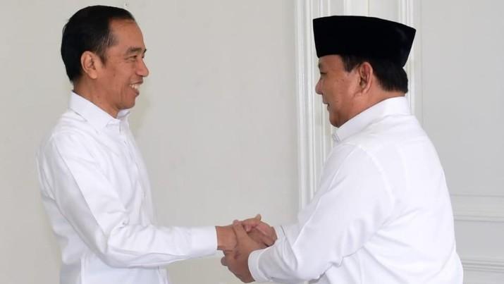 Presiden Joko Widodo menerima Menteri Pertahanan Letnan Jenderal TNI (Purn) Prabowo Subianto di Istana Kepresidenan Yogyakarta, Rabu (1/1/2020).