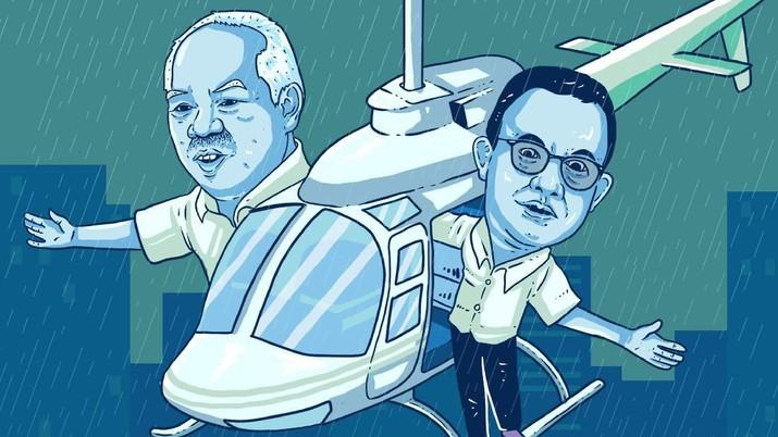 Menteri PUPR Basuki Hadi Muljono dan Gubernur DKI Jakarta Anies Baswedan punya pendapat beda soal penyebab banjir, siapa benar?