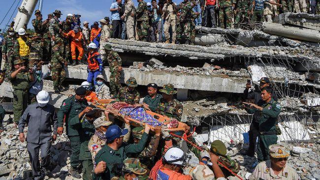 Gedung Ambruk di Kamboja, Puluhan Terluka dan 7 Tewas