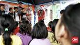 Banjir yang sempat merendam Komplek IKPN, Bintaro, Jakarta Selatan mulai surut. (CNN Indonesia/Andry Novelino)