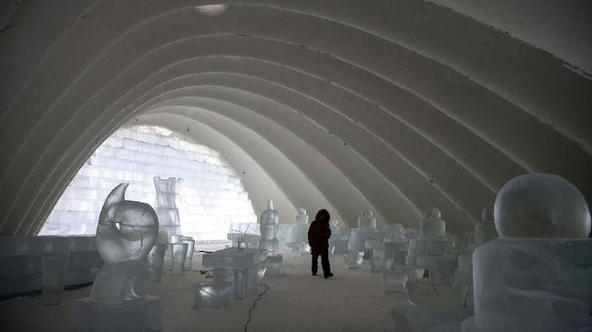 Pada tahun 2018, Festival Es dan Salju Harbin sempat dikunjungi hingga 18 juta orang. (NOEL CELIS / AFP)