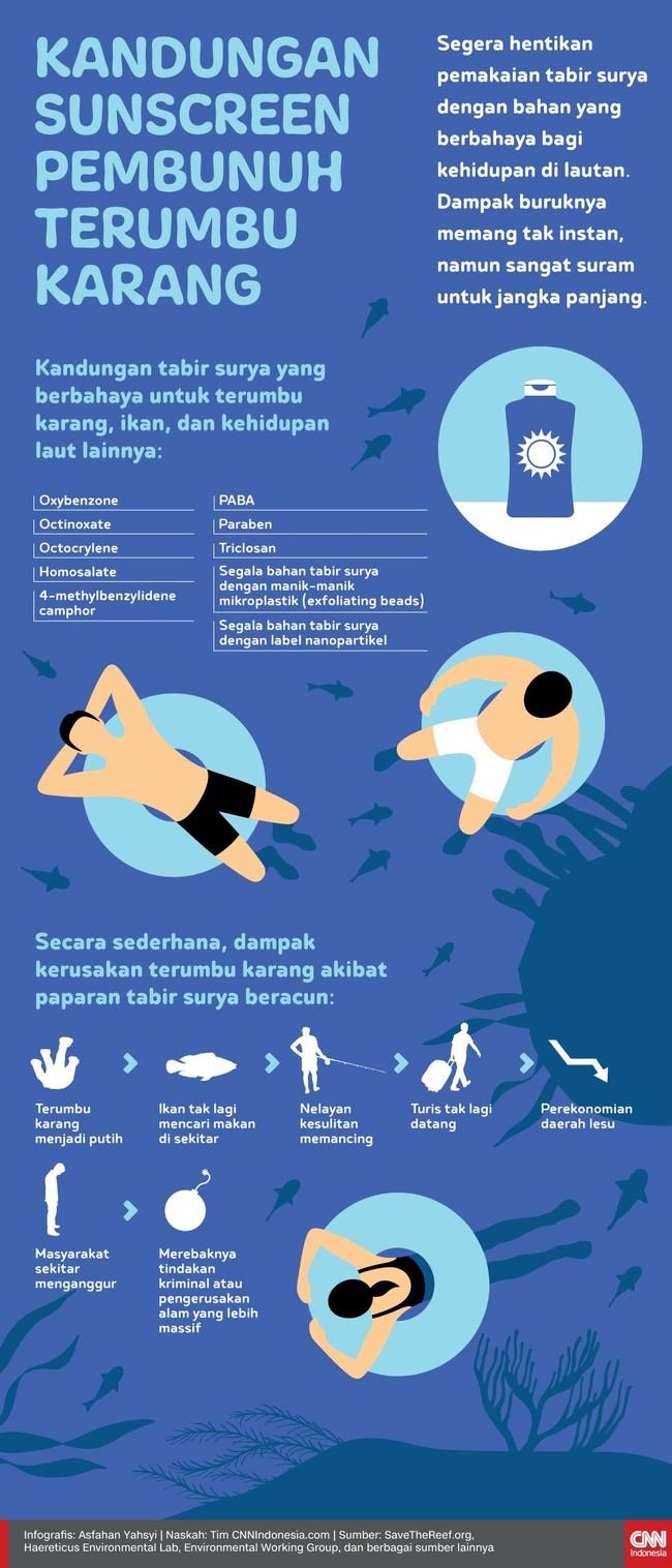 INFOGRAFIS: Kandungan Sunscreen Pembunuh Terumbu Karang