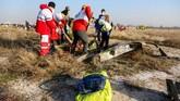 Pesawat Ukraine International Airlines itu jatuh tak lama setelah lepas landas. (Photo by Rouhollah VAHDATI / ISNA / AFP)