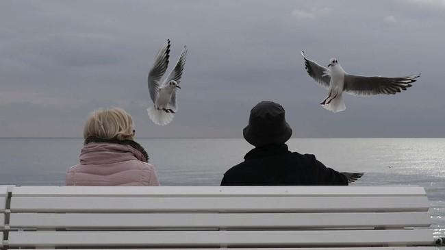 Dua orang duduk di bangku taman melihat burung camar di Promenade des Anglais di kota Nice, Perancis. (Photo by VALERY HACHE / AFP)