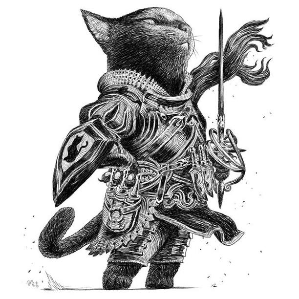 Gemas! Ilustrator Jepang Ubah Kucing dan Anjing Jadi Prajurit Imut