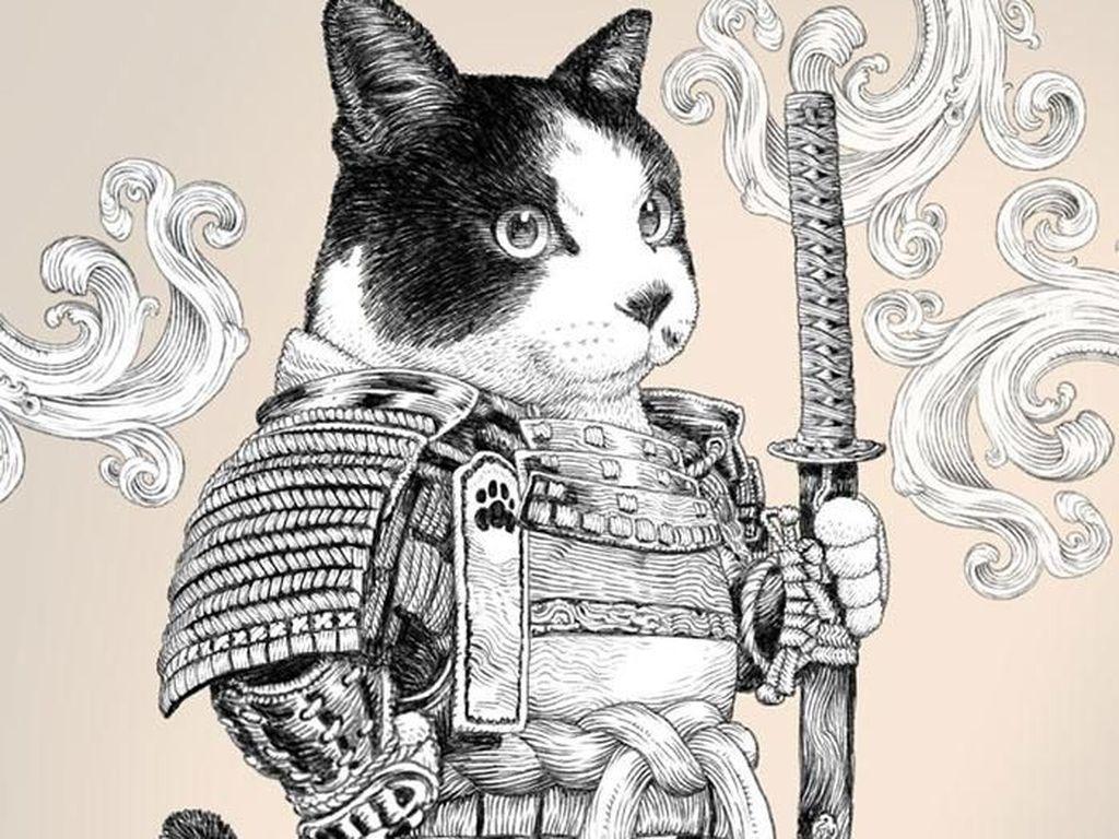 Ilustrasi anjing dan kucing yang menggemaskan ini merupakan bagian dari seri Dog Knight Story yang dibuatnya. Foto: PonkichiM/Bored Panda