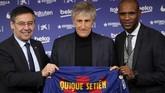 Setien resmi diperkenalkan Barcelona sebagai pelatih baru klub itu. (AP Photo/Emilio Morenatti)