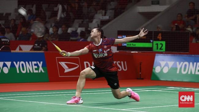 Di gim pertama, Fitriani kalah telak 6-21 dari Han Yue. (CNN Indonesia/Andry Novelino)