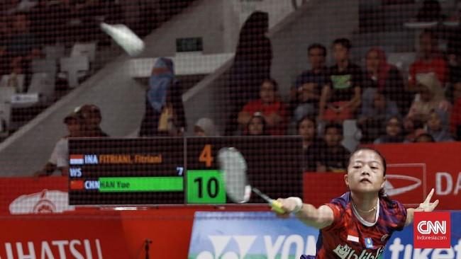 Fitriani menghadapi Han Yue di babak pertama Indonesia Masters. (CNN Indonesia/Andry Novelino)