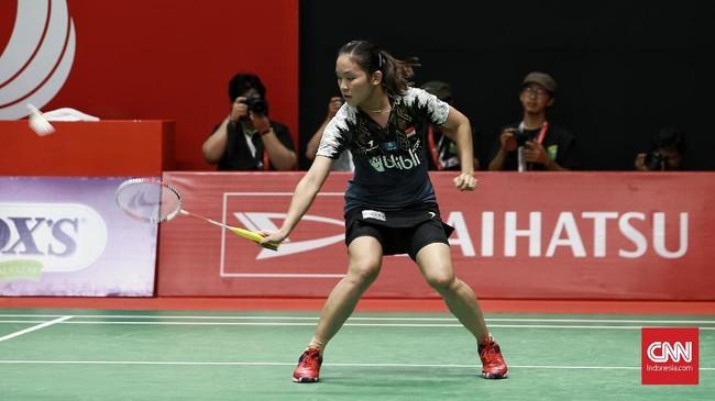 Michelle Li kalah dua gim langsung, 14-21, 15-21. (CNN Indonesia/Andry Novelino)