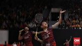 Penampilan Fitriani membaik di gim kedua namun ia tetap kalah dengan skor 17-21. (CNN Indonesia/Andry Novelino)