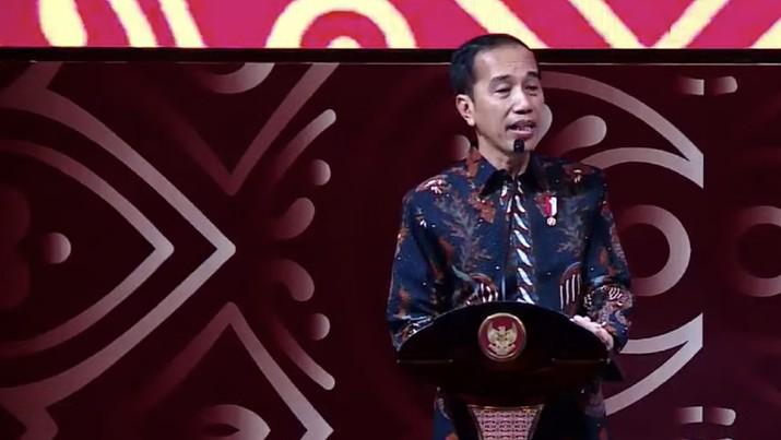 Presiden Joko Widodo (Jokowi) menjadi pembicara kunci dalam Pertemuan Tahunan Industri Jasa Keuangan di Ritz Carlton