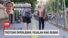 VIDEO: Trotoar Diperlebar, Pejalan Kaki Bubar