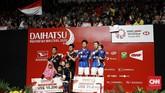 Kevin/Marcus berhasil mempertahankan gelar juara di Indonesia Masters sekaligus meraih gelar perdana di 2020. (CNN Indonesia/Andry Novelino)