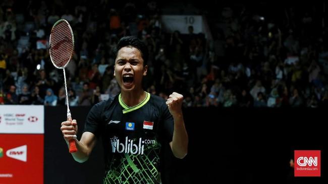 Lewat pertarungan yang sengit, Anthony Ginting menang 17-21, 21-15, 21-9. (CNN Indonesia/Andry Novelino)