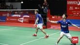 Kevin/Marcus menghadapi Ahsan/Hendra dalam All Indonesian Final di nomor ganda putra Indonesia Masters. (CNN Indonesia/Andry Novelino)