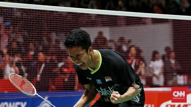 Gelar juara ini sangat berarti bagi Anthony Ginting yang sering kalah di babak final pada 2019. (CNN Indonesia/Andry Novelino)