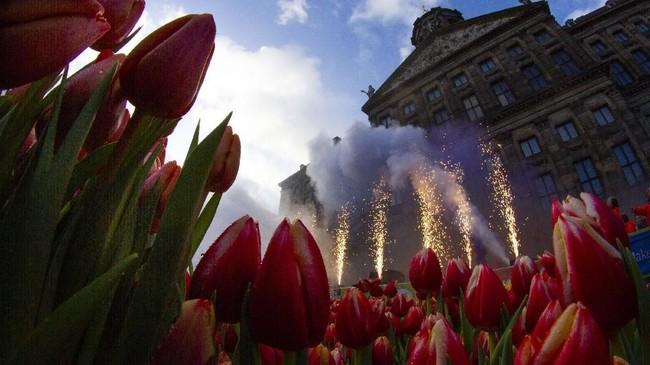 Pesta kembang api dalam acara Hari Tulip Nasional pada Sabtu (18/1) membuka periode musim panen Bunga Tulip di Belanda tahun ini. (AP Photo/Peter Dejong)