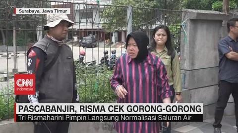 VIDEO: Pasca Banjir, Risma Cek Gorong-gorong