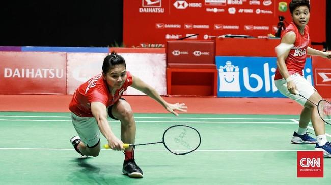Greysia/Apriyani menghadapi duel sengit lawan Maiken Fruegaard/Sara Thygesen di final ganda putri. (CNN Indonesia/Andry Novelino)