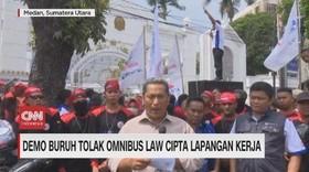 VIDEO: Demo Buruh Tolak Omnibus Law Lapangan Kerja