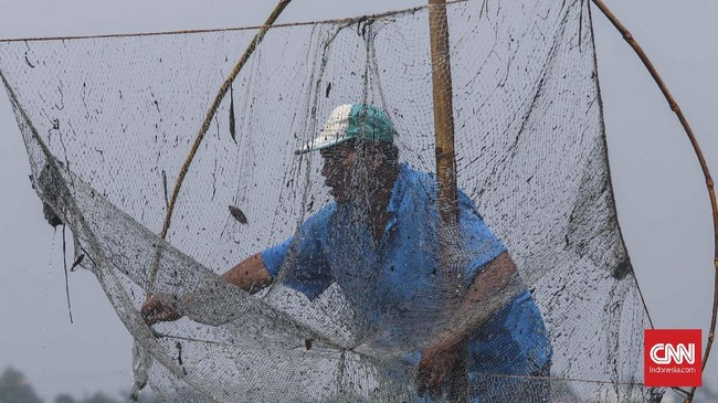 Butuh kesabaran untuk memperoleh ikan saat air meluap di Kali Doser, Desa Wates, Kecamatan Tambun, Kabupaten Bekasi, Jawa Barat, Selasa (21/1). CNNIndonesia/Safir Makki.