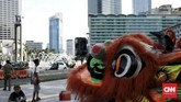 Menyelaraskan dengan makna Tahun Baru Imlek, Pemprov DKI Jakarta mendukung terlaksananya beragam hiburan, parade, serta ornamen khas Negeri Tirai Bambu. (CNN Indonesia/Andry Novelino)