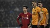 Liverpool menang 2-1 atas Wolverhampton Wanderers di Stadion Molineux pada laga yang diwarnai debut Takumi Minamino di Liga Inggris. (AP Photo/Rui Vieira)