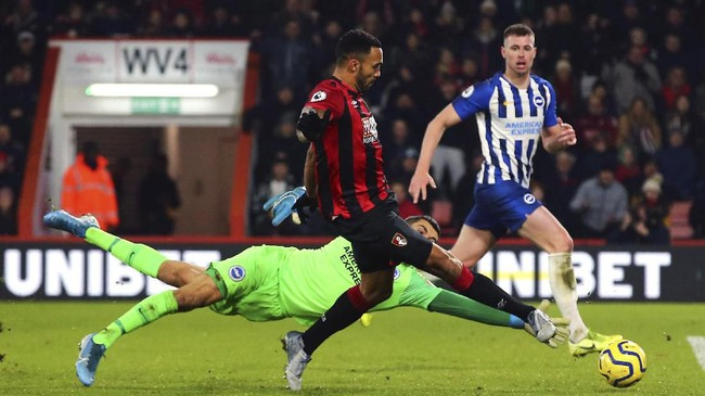 Bournemouth sukses mengalahkan Brighton & Hove Albion 3-1 di Stadion Vitality dengan gol ketiga dicetak Callum Wilson. (Mark Kerton/PA via AP)