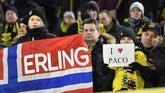 Meski baru resmi bergabung di bursa transfer Januari 2020, Erling Haaland, sudah menjadi idola bagi fan setia Borussia Dortmund. (AP Photo/Martin Meissner)