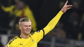 Ini menjadi gol kelima Erling Haaland bersama Dortmund setelah sebelumnya mencetak hattric di laga perdana pada pekan lalu. (AP Photo/Martin Meissner)
