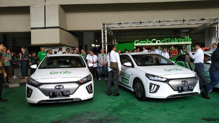 Peluncuran Grabcar Electric (CNBC Indonesia/Yuni Astutik)