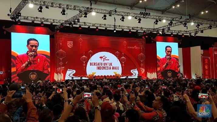 Jokowi hadir dalam perayaan Imlek Nasional 2020 di Ice BSD, Kota Tangerang Selatan, Banten pada Kamis (30/1/2020).