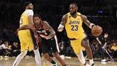 Los Angeles Lakers mendapat perlawanan sengit dari Portland Trail Blazers.(AP Photo/Kelvin Kuo)