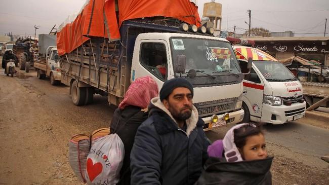 PBB menyatakan akan tetap mengirim bantuan untuk warga Suriah di Idlib. (AAREF WATAD/AFP)