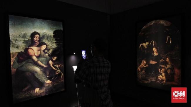 17 reproduksi lukisan Leonardo da Vinci itu sengaja dibuat persis sesuai ukuran asli. (CNN Indonesia/Adhi Wicaksono)