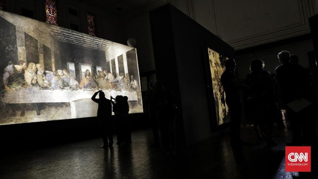 Pameran Leonardo Opera Omnia dibuka sampai 3 Maret 2020 di Museum Mandiri, Jakarta. (CNN Indonesia/Adhi Wicaksono)