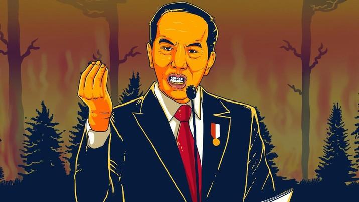 Infografis/Jokowi murka! Ancam pecat Pejabat, Akibat Kebakaran Hutan RI/Aristya Rahadian Krisabella
