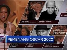 Mantab! Brad Pitt Terima Piala Perdananya di Oscar 2020