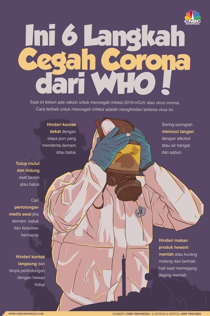 Cara terbaik untuk mencegah infeksi adalah menghindari terkena virus ini, berikut 6 cara cegah corona