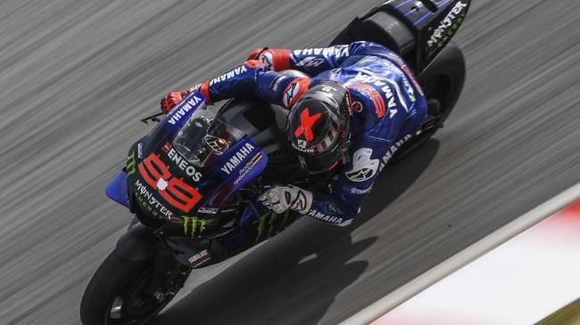 Jorge Lorenzo yang merupakan pebalap tes Yamaha mengakhiri hari terakhir dengan berada di posisi 20. (MOHD RASFAN / AFP)
