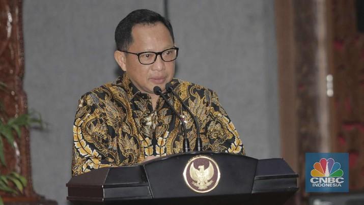 Menteri Dalam Negeri Tito Karnavian di acara Perjanjian Kerja Sama Percepatan dan Perluasan Elektronifikasi Transaksi Pemerintah Daerah (ETP). (CNBC Indonesia/Muhammad Sabki)